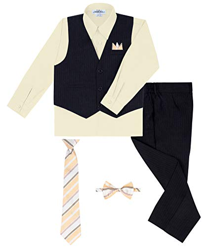 - S.H. Churchill & Co. Boy's Vest and Pant Set, Includes Shirt, Tie and Hanky -  Black/Banana, 6