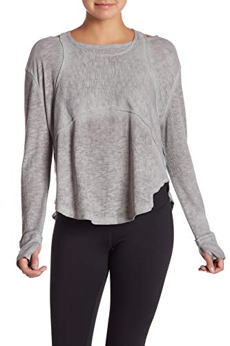 Free People Heather Womens Large Zenith Cutout Knit Top Gray L