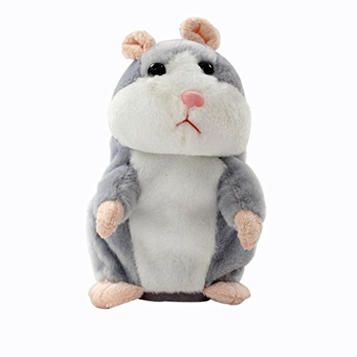 Price comparison product image Kshion Adorable Speak Talking Record Hamster Plush Kids Toys (gray)