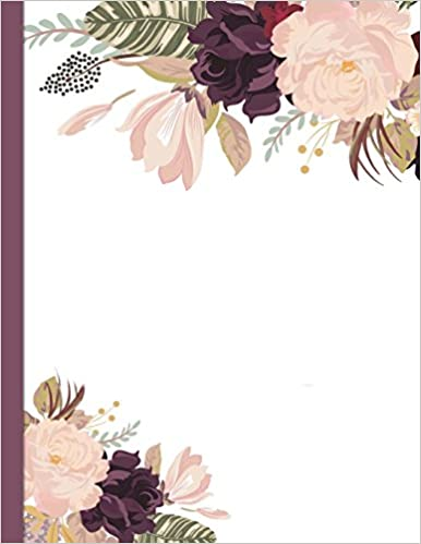 Plum Roses 8.5x 11 BuJo 150 page DIY dot grid Notebook for bullet style journals Dot Grid Notebook