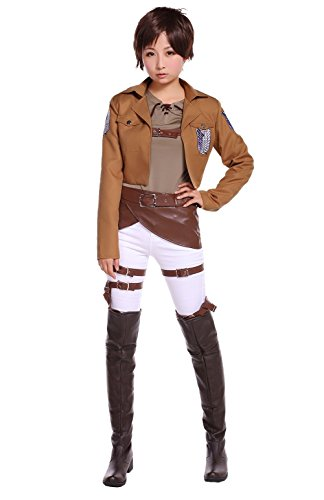 COSROOM Attack on Titan Survey corps Eren Jaeger Cosplay Costume Female M (Attack On Titan Cosplay Eren)