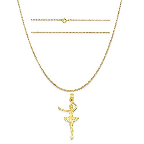 14k Yellow Gold Ballerina (14k Yellow Gold Ballerina Pendant on a 14K Yellow Gold Carded Rope Chain Necklace, 16