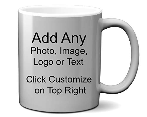 DIY Custom Personalized Photo Picture and/or Text Coffee 11 and 15 Ounce Mugs | Add Your Own Photo or Image or Text | No Minimums - Double Sided for Same Price (Metallic Silver Mug, 11 Ounce)
