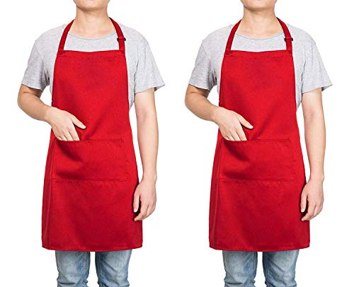 Homsolver 2 Pack Adjustable Bib Apron with 2 Pockets Liquid Drop Waterdrop Resistant Cooking Kitchen Restaurant Bar Apron Black Aprons Chef Apron Unisex Aprons for Women Men (Red, Two Packs)