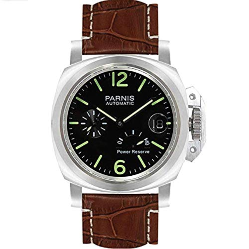 (Parnis 43mm Black Dial Luminous Marks Stainless Steel Case 3BAR Water Resistant Power Reserve Indicator Seagull ST2530 Self-Winding Movement Men's Wrist Watch (Brown))