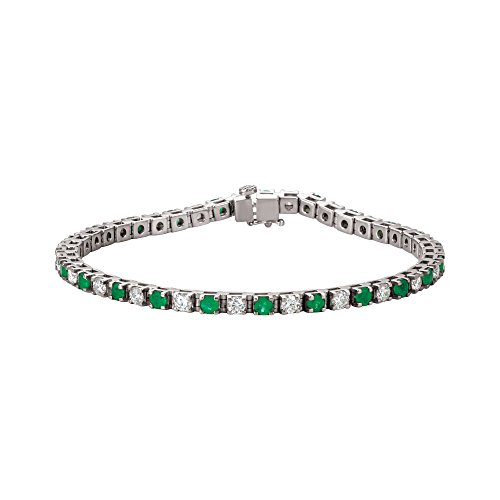 "7 1/4"" 14K White Gold Emerald & 2 3/8 CTW Diamond Bracelet"