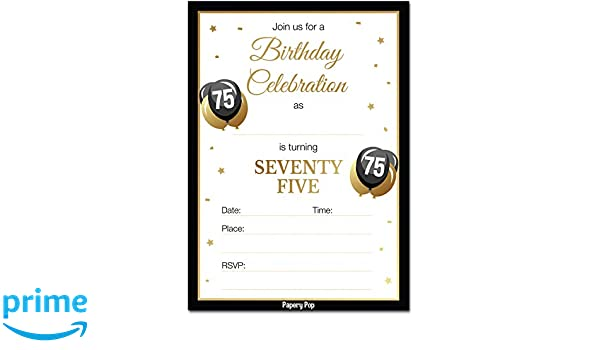 75th Birthday Invitations With Envelopes 30 Count