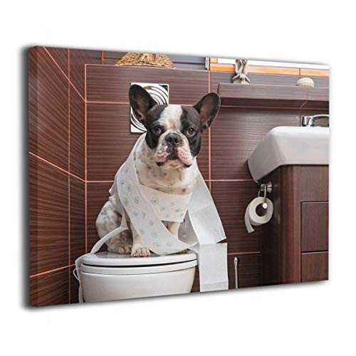 Ale-art French Bulldog Sitting On Toilet Canvas Paintings Wall Art Decor for Living Room Bedroom Home Decorations Modern Stretched and Framed Giclee Canvas Pictures Prints Artwork 16