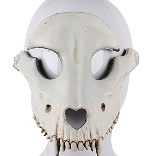 Amosfun Sheep Head Mask Halloween Sheep Skull Cosplay Mask Halloween Party Horror Mask for Cosplay Party Props (Beige)]()