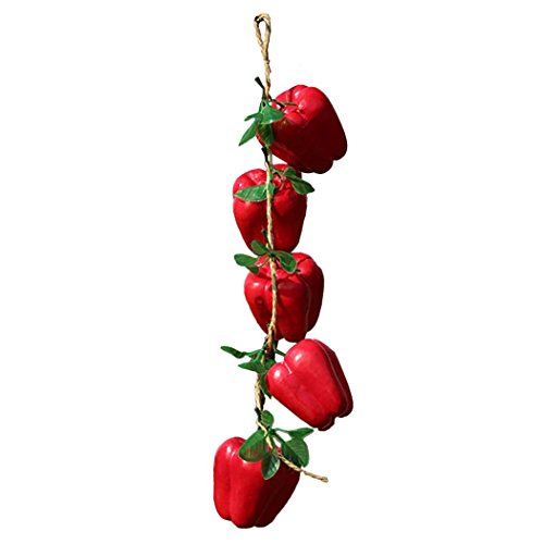 (JUSTDOLIFE 1 String Artificial Peppers Decorative Lifelike Fake Red Peppers Simulation Chilies Photo Props)