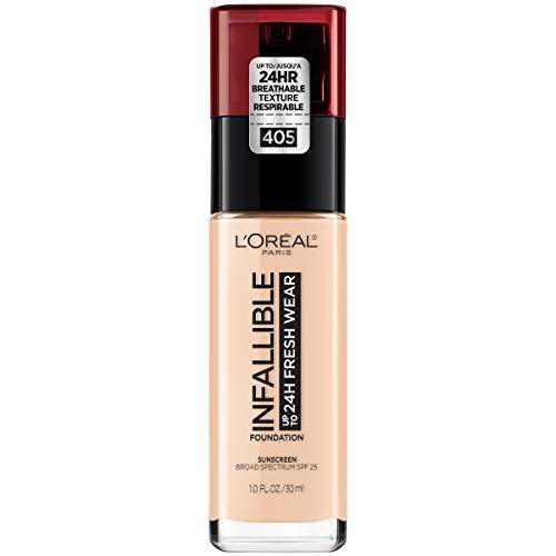 (L'Oréal Paris Makeup Infallible up to 24HR Fresh Wear Liquid Longwear Foundation, Lightweight, Breathable, Natural Matte Finish, Medium-Full Coverage, Sweat & Transfer Resistant, Porcelain, 1 fl.)