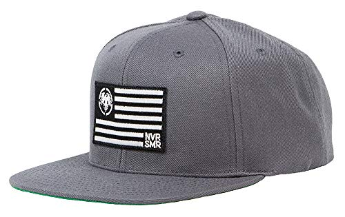 16f7a702e4817 Never Summer USA Flag Patch Adjustable Snapback Hat (Dark Grey)
