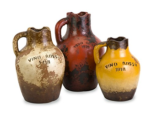 "Imax Vino Rosa Terracotta Vases - Set of Three 9"" x 14"" x 9"" Multi"