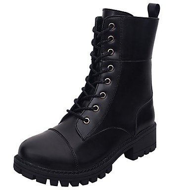 con mujer redonda de informal de Botas confort otoño de grueso Botas Calzado con media US8 Botas cordones punta negro el tacón de para pierna y combate de UK6 CN39 EU39 Botas de PU RTRY vxBwqERx