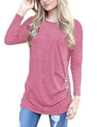 Q&Y Women's Casual Long Sleeve Loose Tunic Buttons Decor Tops Blouse T-Shirt Sweater