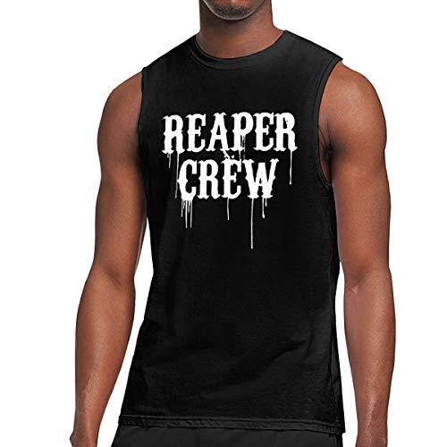 SHENQINGWENEN Men's Reaper Crew Yoga Tank Top T-Shirt Muscle Tank Top Shirt (Reaper Ringer T-shirt)