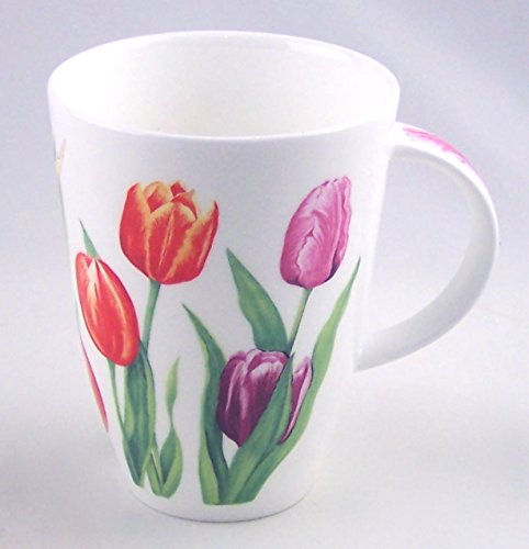 Red Tulip Chintz Fine English Bone China Mug - Large 14 ounce Louise Shape - England