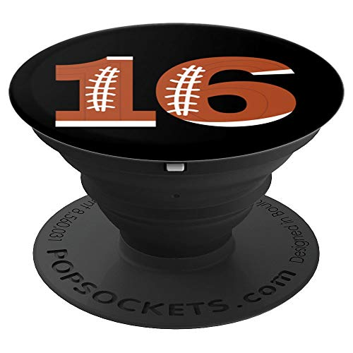 16th Birthday Football Ball Boys | 16 Year Old Design Gift - PopSockets Grip and Stand for Phones and Tablets