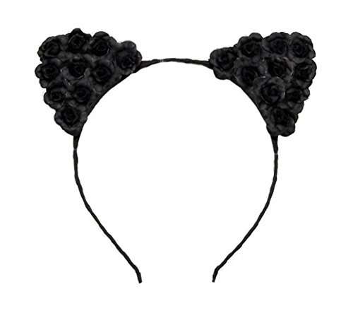 Price comparison product image Merroyal Cat Ears Flower Headband Hairband Hen Party Bride Hair Fancy Dress Cosplay (Black)