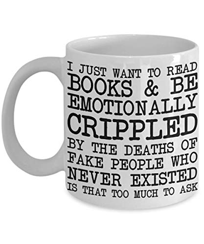 PixiDoodle I Just Want To Read - Funny Emotional Bookworm Coffee Mug (11 oz, White) ()