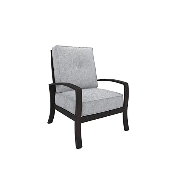 Ashley Furniture Signature Design - Castle Island Outdoor Lounge Chair with Cushion - Rust-Proof - Dark Brown & Gray - OUTDOOR LOUNGE CHAIR: Bring modern appeal to your deck with this clean-lined beauty. Whether you use it to sunbathe or have as table seating, it's an always-trendy addition to your decor DURABLE DESIGN: Made with an all-weather, rust proof aluminum frame. Zippered cushions are covered in high-performing Nuvella polyester with Velcro ties CONTEMPORARY STYLE: The thick, plush light gray cushions are full of texture and easy-breezy style. Go ahead—relax and enjoy the modern design - patio-furniture, patio-chairs, patio - 41hQDwgqHZL. SS570  -