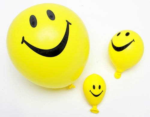 Funsational Set of 8 12-Inch Helium-Quality Smiley Face Balloons, (Face Balloons)