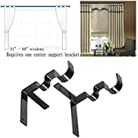1 Pair Hang Double Center Support Curtain Rod Holders Into Window Frame Bracket
