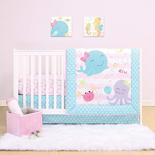 The Peanutshell Sea Sweeties Crib Bedding Set for Baby Girls | 3 Piece Nursery Set | Baby Quilt, Crib Sheet, and Dust Ruffle