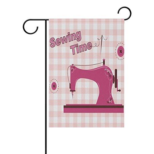 "LEISISI Pink Vintage Sewing Machine Garden flag 12""X18"" Two"