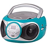 Trevi CD512 Portable Stereo System with Built in AM/FM Radio, CD Player with Headphone Socket and Aux Input for MP3 Playback (Turquoise)