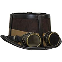 Brown Steampunk Hat with Black Straps