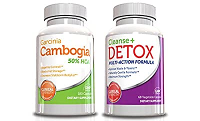 Best Garcinia Cambogia Weight Loss Kit w/ Colon Cleanse and Detox, Includes Garcinia Cambogia Extract 180 Capsules (Value Size) and Detox and Cleanse Supplement 60 Capsules, New Year New Body Best Weight Loss Combo of 2015, Helps Increase Energy, Lose Wei