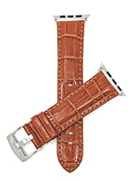 Tan, Mens' Alligator Style Leather 42mm Apple Watch Band Strap, Glossy Finish, Stainless Steel Buckle, Fits Series 1, 2 and 3