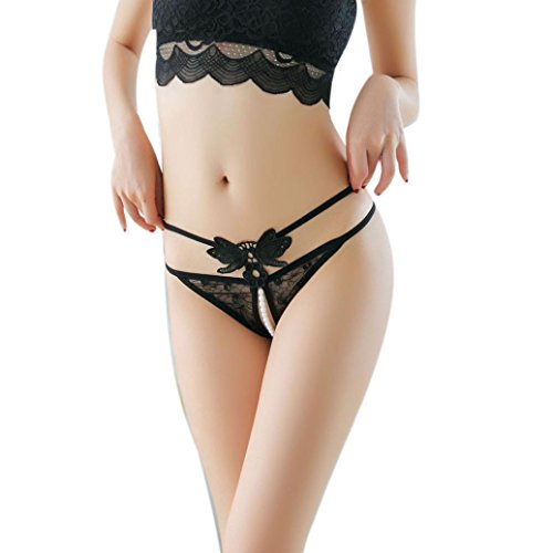 - Women's Underwear,Connia Free Size Thong Bragas Sexy Panties Thong Lace Word Pants Briefs (Black)