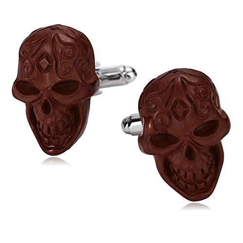 (KnSam Cufflinks for Men Stainless Steel Punk Gothic Skull Head Skeleton Brown)