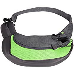 EBRICKON Pet Dog Carrier Cat Carrying Small Animal Sling Front Carrier Bag Mesh Soft Travel Bags for Small Dogs Pets Slings Backpack (Green,S)