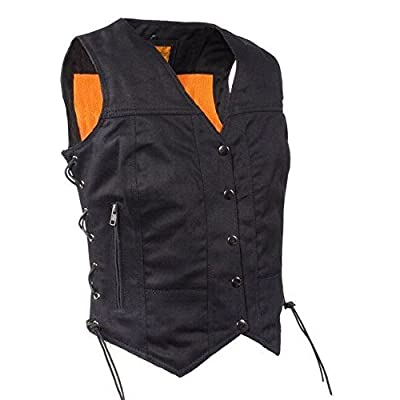 Dream Motorcycle Ladies 7 Pocket blk 100% Cotton Denim Biker Vest with Snap Buttons