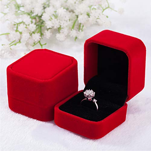 (Tianying 2 Pack Velvet Ring Boxes, Earring Pendant Jewelry Case, Ring Earrings Gift Boxes, Jewellry Display (Red, Ring Box))