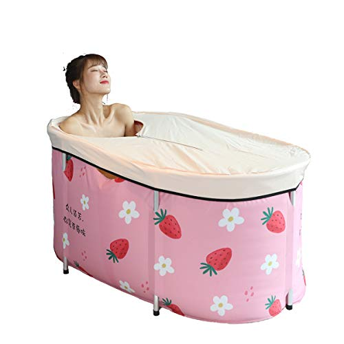 Foldable Bathtub Portable Soaking Bath Tub,Eco-Friendly Bathing Tub for Shower Stall,Thickening with Thermal Foam to Keep Temperature (strawberry)