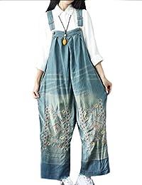 Sheng Xi Women's Denim Baggy Suspenders Plus Size Wide Leg Bib Overalls