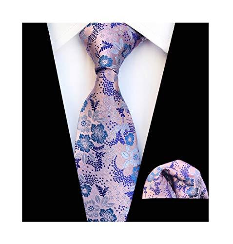 Mens Pink Blue Silk Tie Pocket Square Set Summer Cool Gentleman Party Self Cravat Necktie