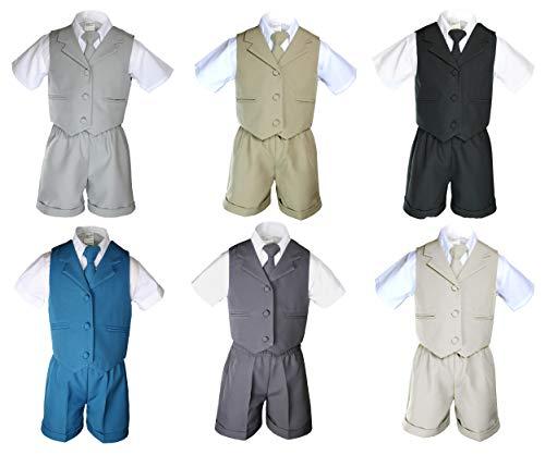(MILLTEX 4pc Born Baby Boy Toddler Teen Wedding Easter Formal Party Color Eton Shorts Vest Suit Set Sm-4T (4T, Black))