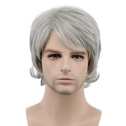 Karlery Men Short Bob Wave Gray White Wig Halloween Cosplay Wig Anime Costume Party Wig