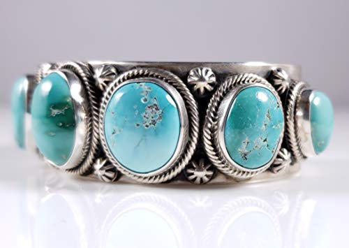 Sterling Silver Navajo Row Cuff Bracelet Nevada Fox Turquoise Signed By Ned Nez