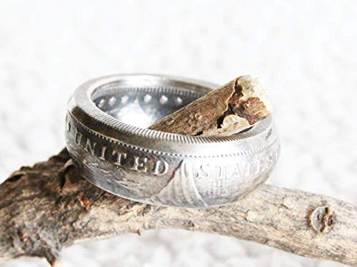 (Morgan Silver Round, Coin Ring, Fine Silver Ring, Men Wedding Band, Fathers Day Gift, Gifts for Him, Gifts for Dad, Mens Ring, Husband Gift)