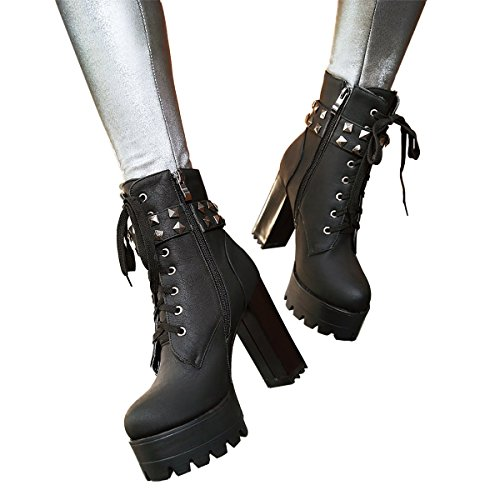 up Boots Lace High Booties Black3 Military Ankle Heel Motorcycle Leather Calf Susanny Buckle Mid Cowboy Women's Aqw80I1