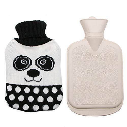 Knit Panda - JETEHO Rubber Hot Water Bottle with Panda Knit Cover Premium Classic Hot Water Bottle