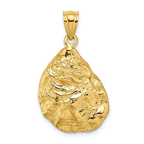 (FB Jewels 14K Yellow Gold 3D Oyster Shell Textured Pendant)