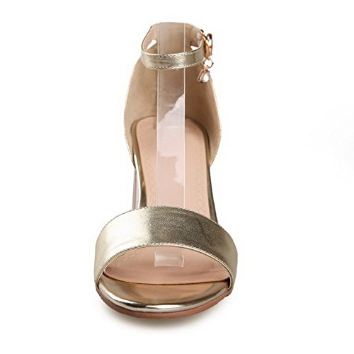 Amoonyfashion Gonnellino Da Donna Morbido Materiale Fibbia Massiccia Sandali Open Toe In Oro