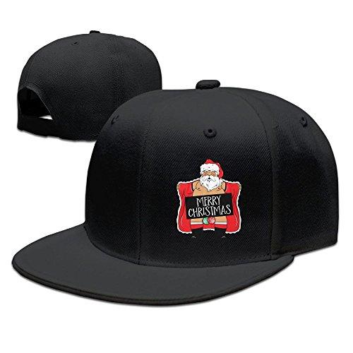 WYF Men&women Merry Christmas - Naughty Santa - Ugly Christmas Casual Style Golf Black Hats Adjustable Snapback -